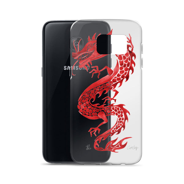 Chinese Dragon – Crimson Palette • Samsung Case (Transparent)