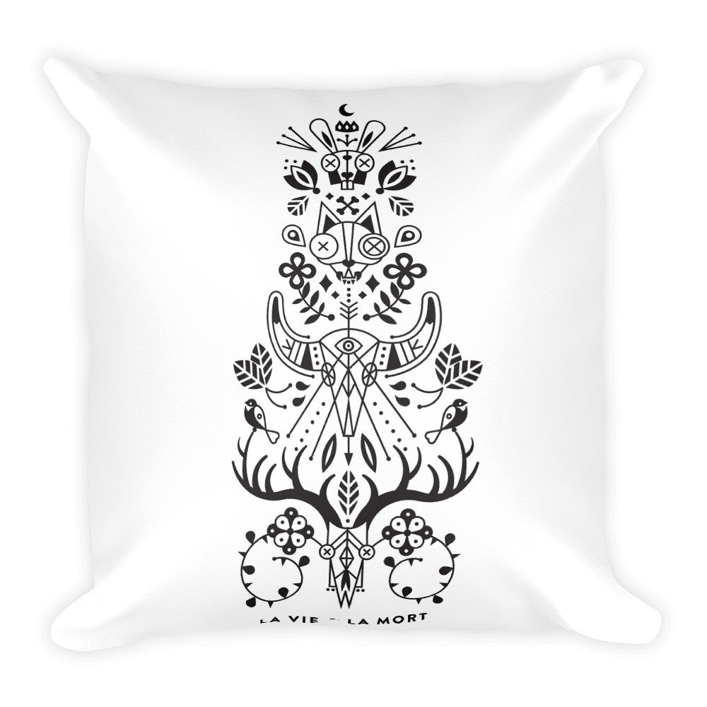 La Vie & La Mort – Black Ink on White • Square Pillow