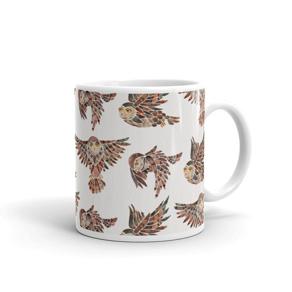 Owls in Flight – Brown Palette • Mug