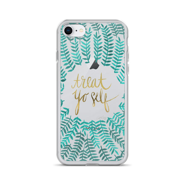 Treat Yo Self – Turquoise Palette • iPhone Case (Transparent)