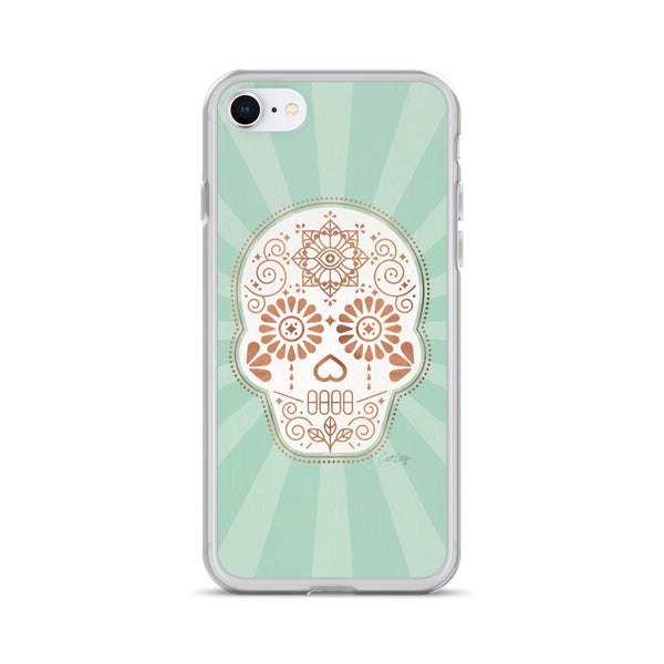 Día de Muertos • Mexican Sugar Skull – Mint & Rose Gold Palette • iPhone Case