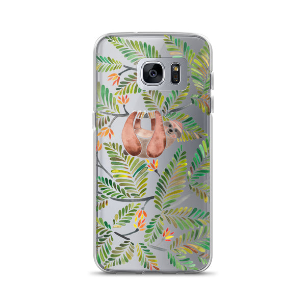 Happy Sloth – Tropical Green Rainforest • Samsung Case (Transparent)