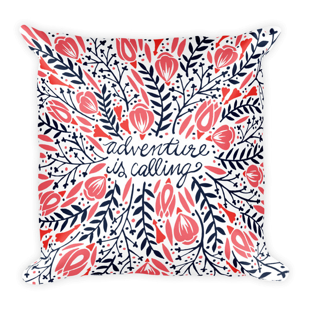 Adventure is Calling – Red & Black Palette  •  Square Pillow