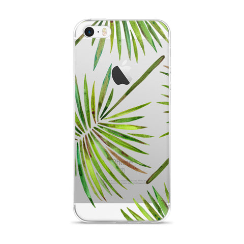 Fan Palm – Green Palette  •  iPhone 5/5s/Se, 6/6s, 6/6s Plus Case (Transparent)