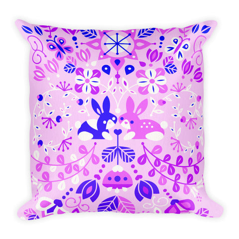 Bunny Lovers – Indigo Palette  •  Square Pillow