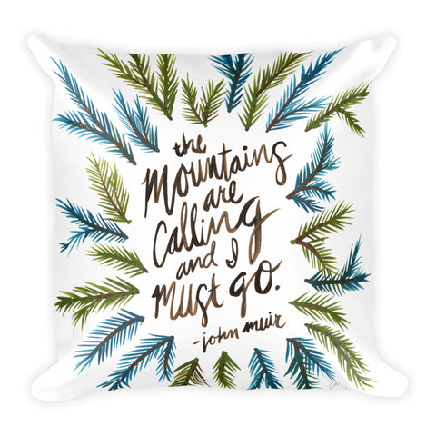 Mountains are Calling – Green Palette • Square Pillow