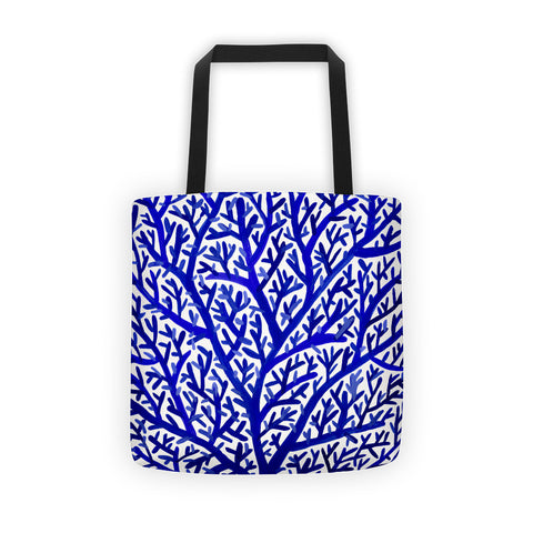 Fan Coral – Navy Palette • Tote Bag