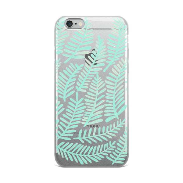 Fronds – Mint Palette • iPhone Case (Transparent)