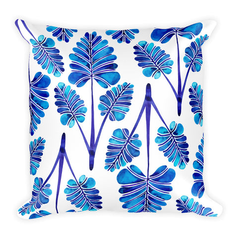 Palm Leaf Trifecta – Navy Palette • Square Pillow