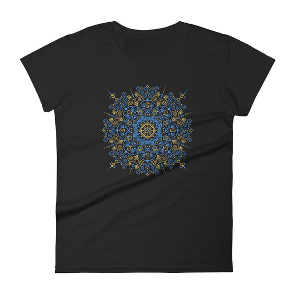 Moroccan Mandala – Blue & Gold Palette • Women's short sleeve t-shirt