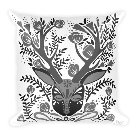 Floral Antlers – Black Palette  •  Square Pillow