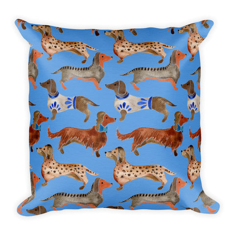 Dachshunds – Cornflower Blue Palette  •  Square Pillow