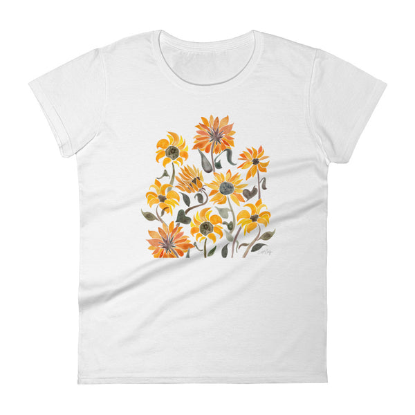 Sunflower Watercolor – Yellow Palette • Women's short sleeve t-shirt