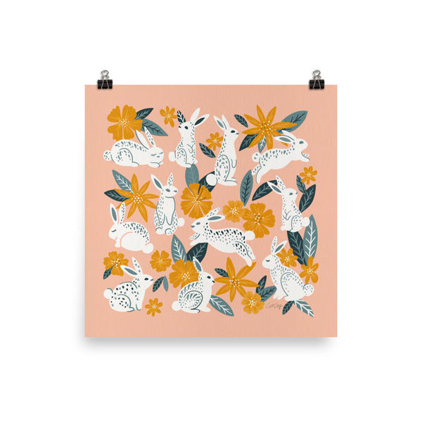 Bunnies and Blooms - Teal Blush