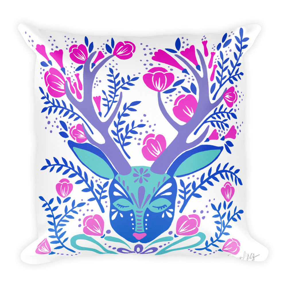Floral Antlers – Indigo Palette  •  Square Pillow