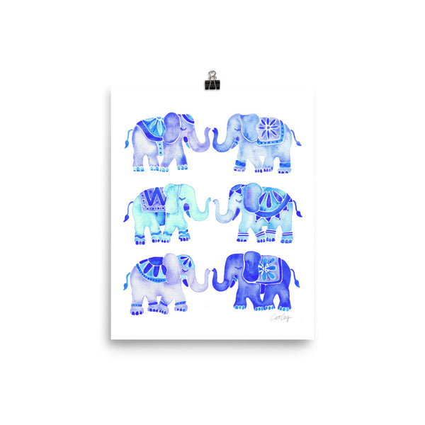 Elephant Collection – Blue Palette • Art Print