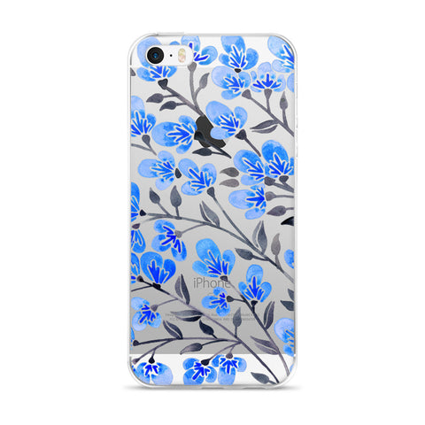 Cherry Blossoms – Blue & Grey Palette • iPhone 5/5s/Se, 6/6s, 6/6s Plus Case (Transparent)