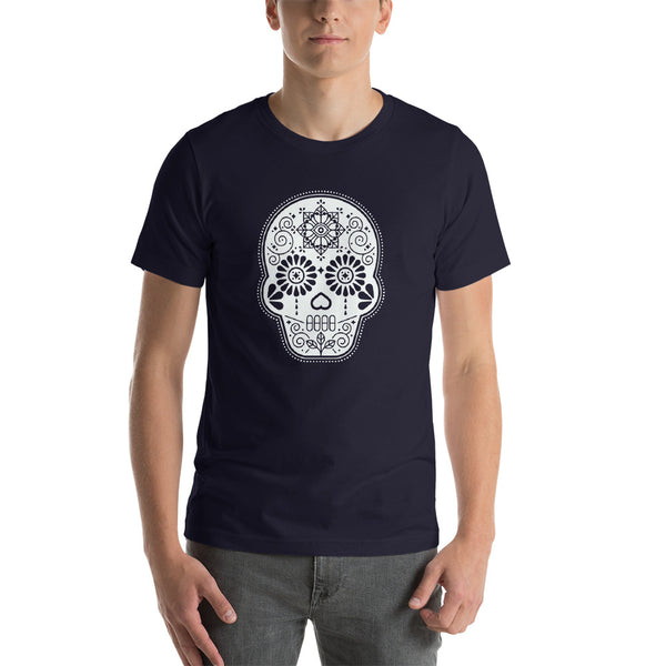 Día de Muertos – Mexican Sugar Skull – White Ink • Short-Sleeve Unisex T-Shirt