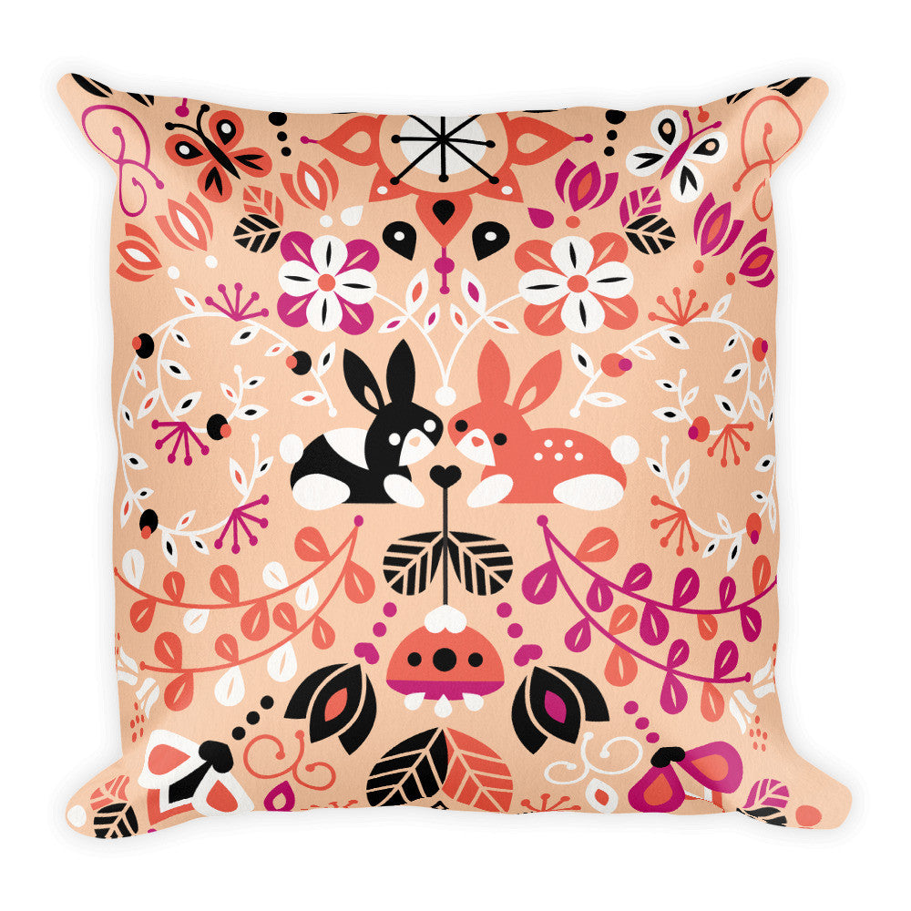 Bunny Lovers – Orange & Pink Palette  •  Square Pillow