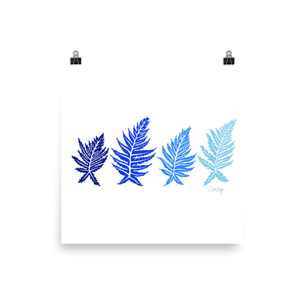 Inked Ferns – Blue Ombré Ink • Art Print
