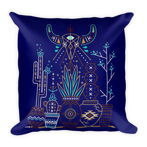 Santa Fe Garden – Navy Palette  •  Square Pillow