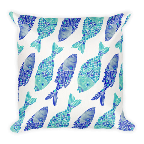 Indonesian Fish – Navy & Turquoise Palette  •  Square Pillow