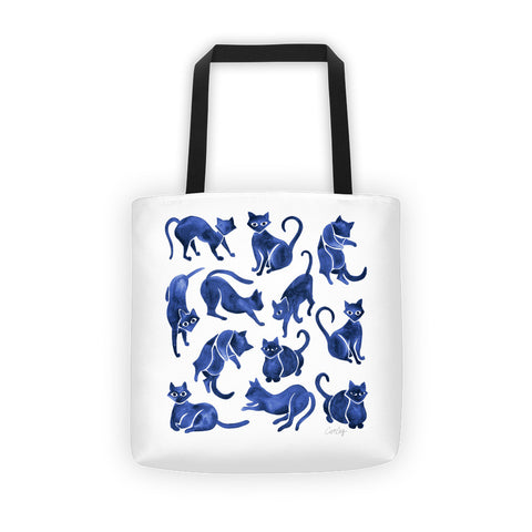 Cat Positions – Navy Palette  •  Tote Bag
