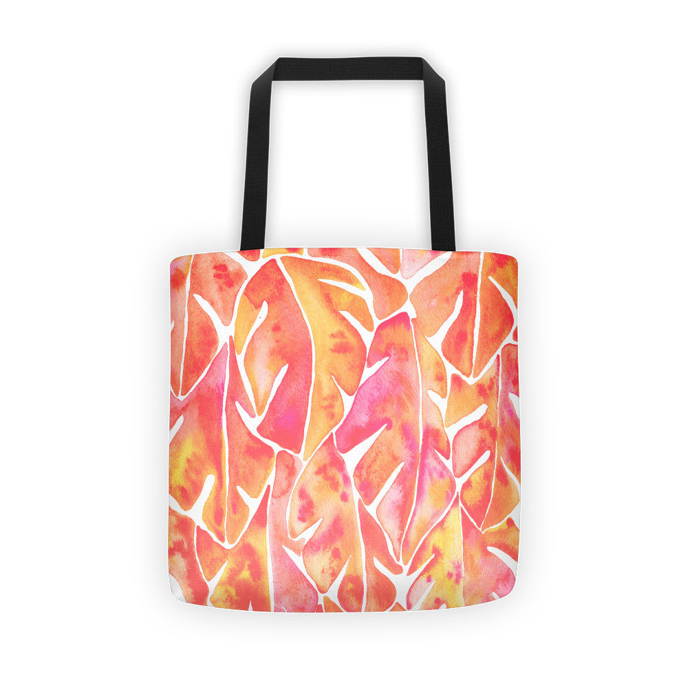 Split Leaf Philodendron – Peach Palette • Tote Bag