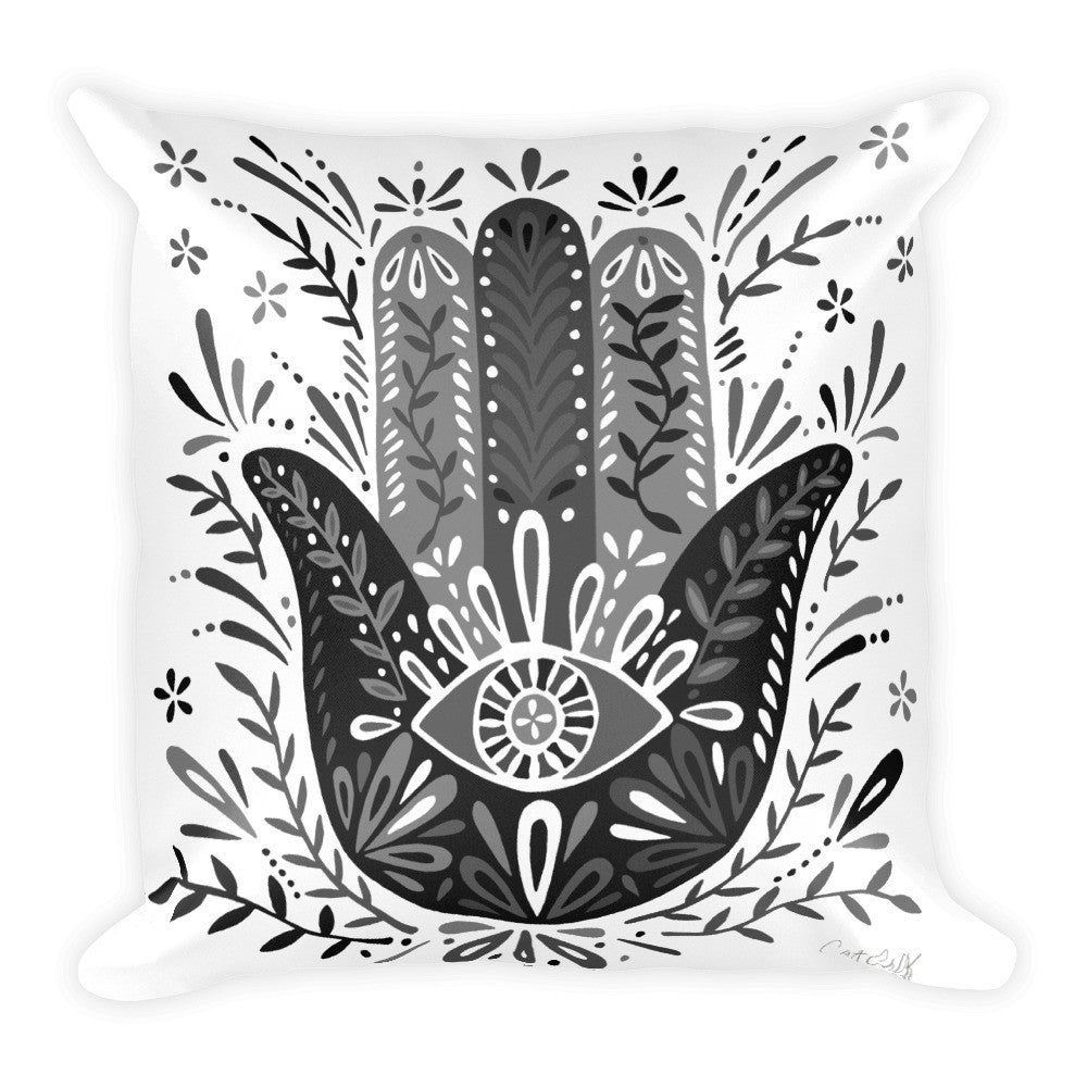 Hamsa Hand – Black Palette  •  Square Pillow