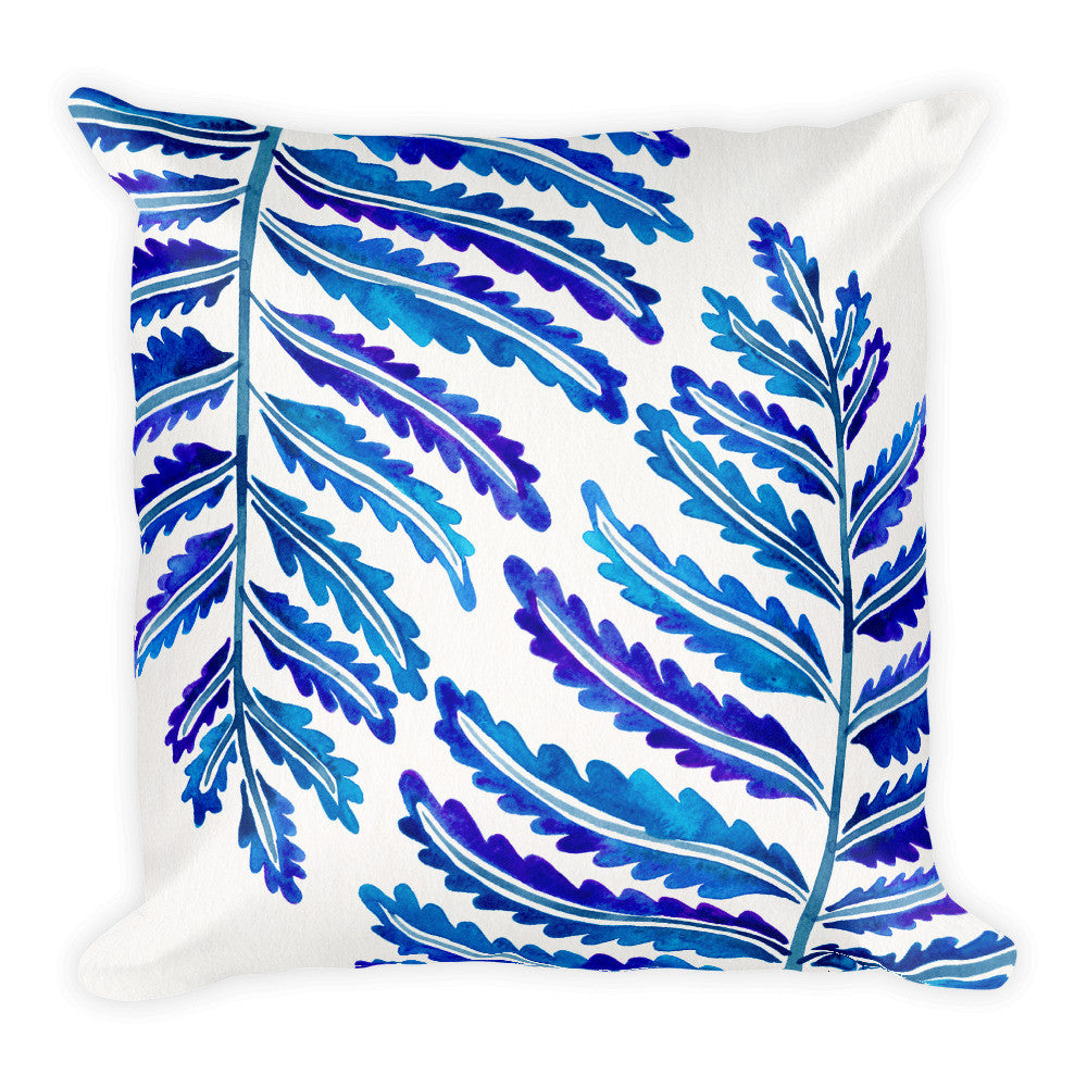 Fern Leaf – Navy Palette •  Square Pillow