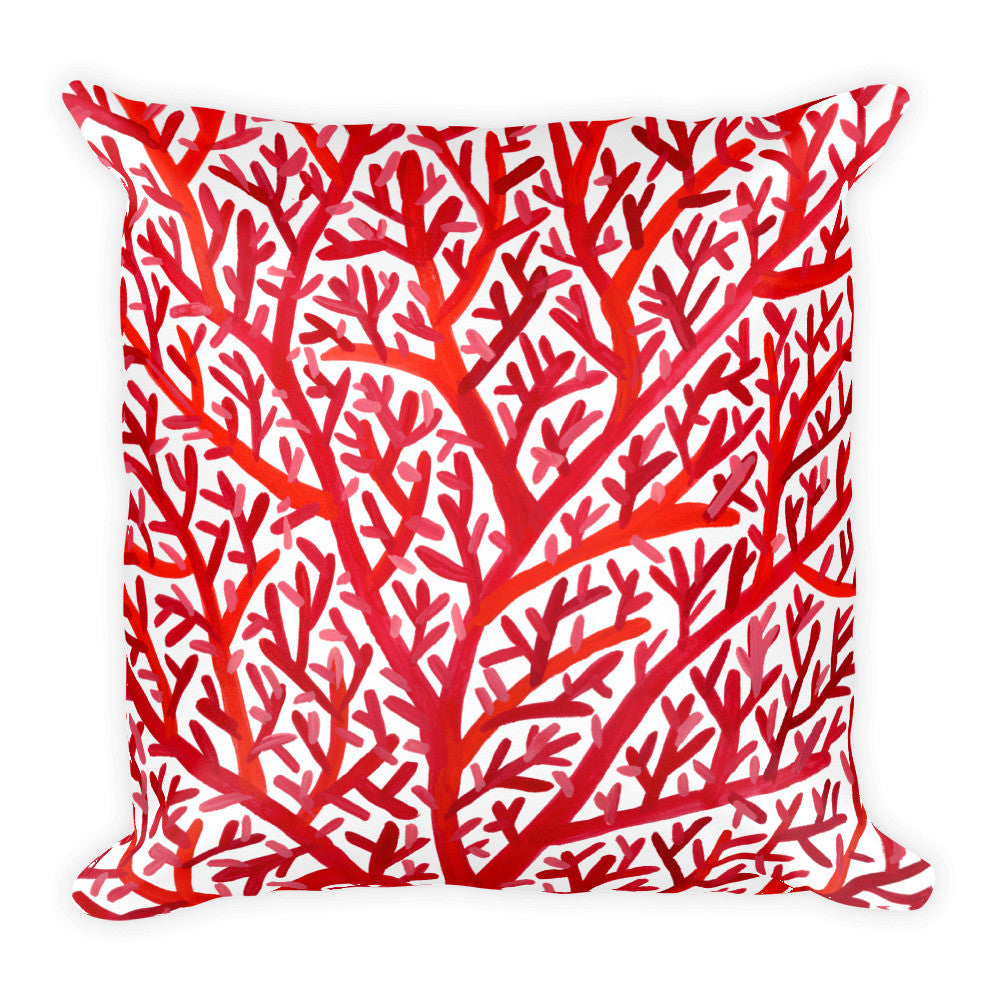 Fan Coral – Red Palette • Square Pillow