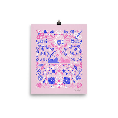 Kitten Lovers – Pink & Indigo Palette • Art Print
