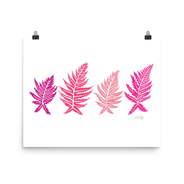 Inked Ferns – Pink Ombré Ink • Art Print