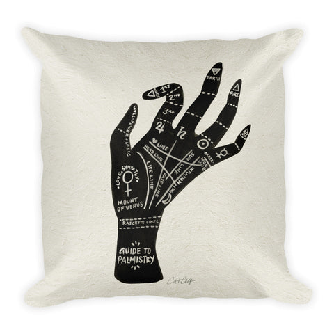 Palmistry – Black Hand  •  Square Pillow