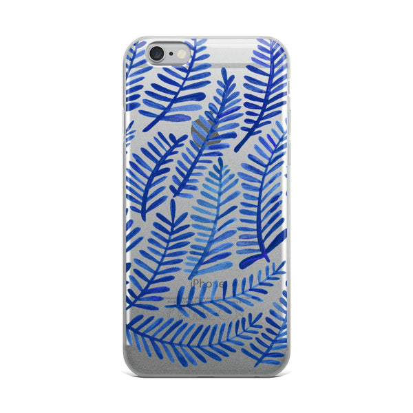 Fronds – Navy Palette • iPhone Case (Transparent)