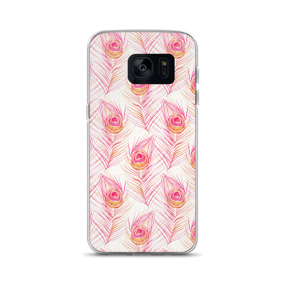 Peacock Feather – Peachy Pink Palette • Samsung Case