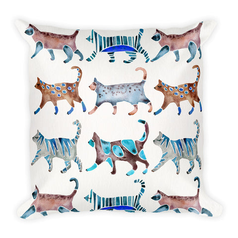 Cat Collection – Blue & Brown Palette  •  Square Pillow