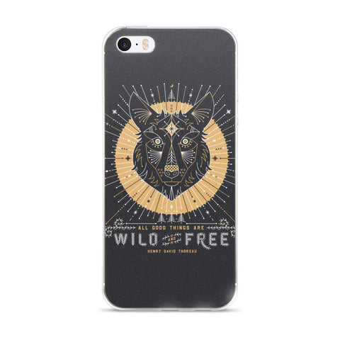 Wild & Free Wolf – Grey & Gold Palette  •  iPhone 5/5s/Se, 6/6s, 6/6s Plus Case