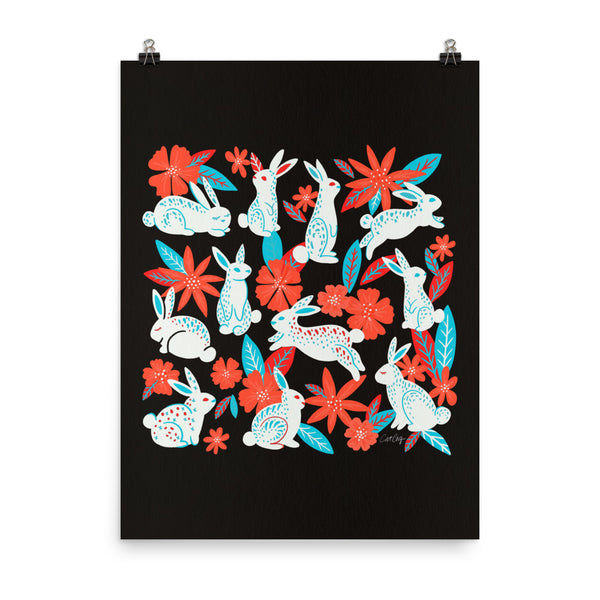 Bunnies and Blooms - Charcoal Magenta Cyan