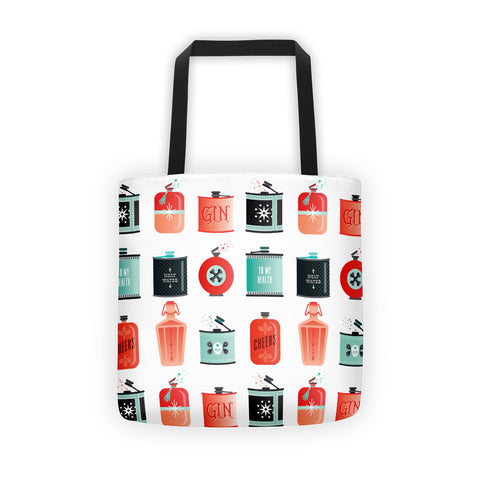 Flask Collection – Red & Mint Palette • Tote Bag