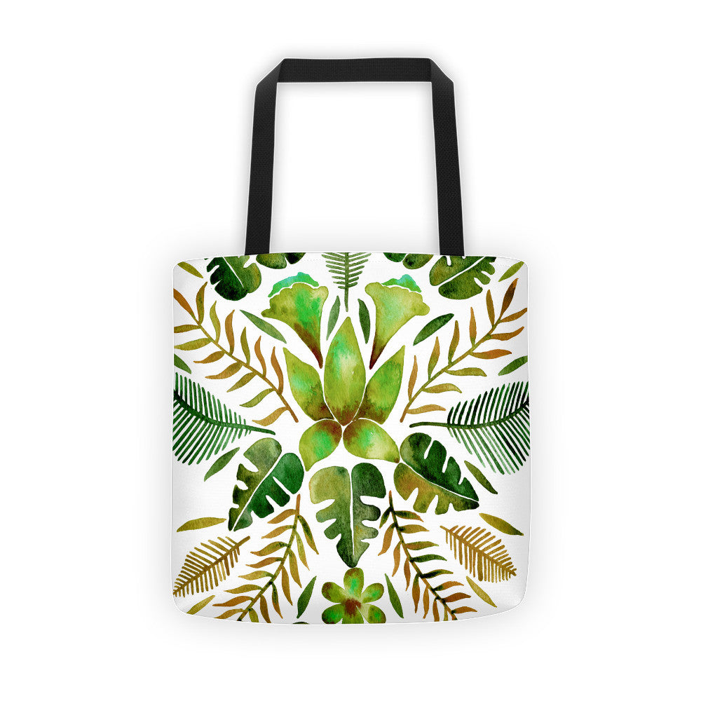 Tropical Symmetry – Olive & Green Palette • Tote Bag