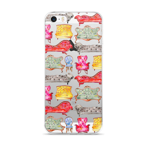 Victorian Lounge – Rainbow Palette  •  iPhone 5/5s/Se, 6/6s, 6/6s Plus Case (Transparent)