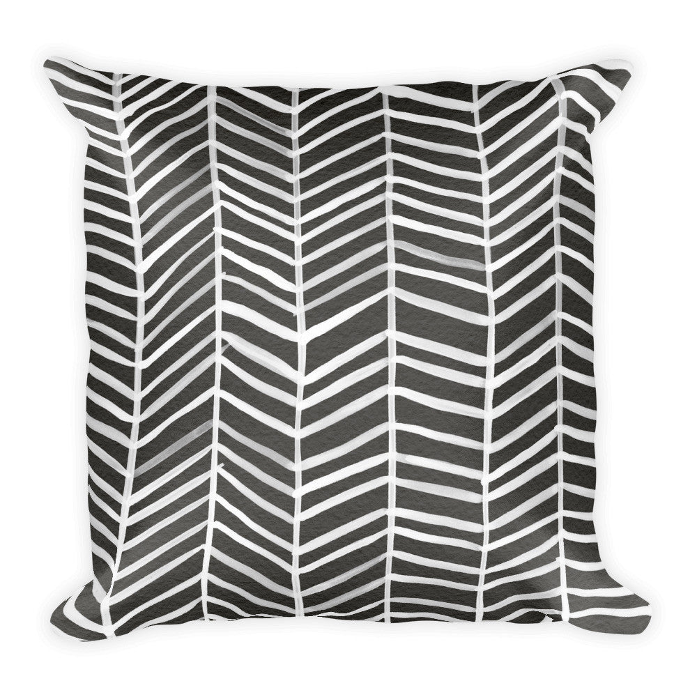 Herringbone – Black Palette • Square Pillow
