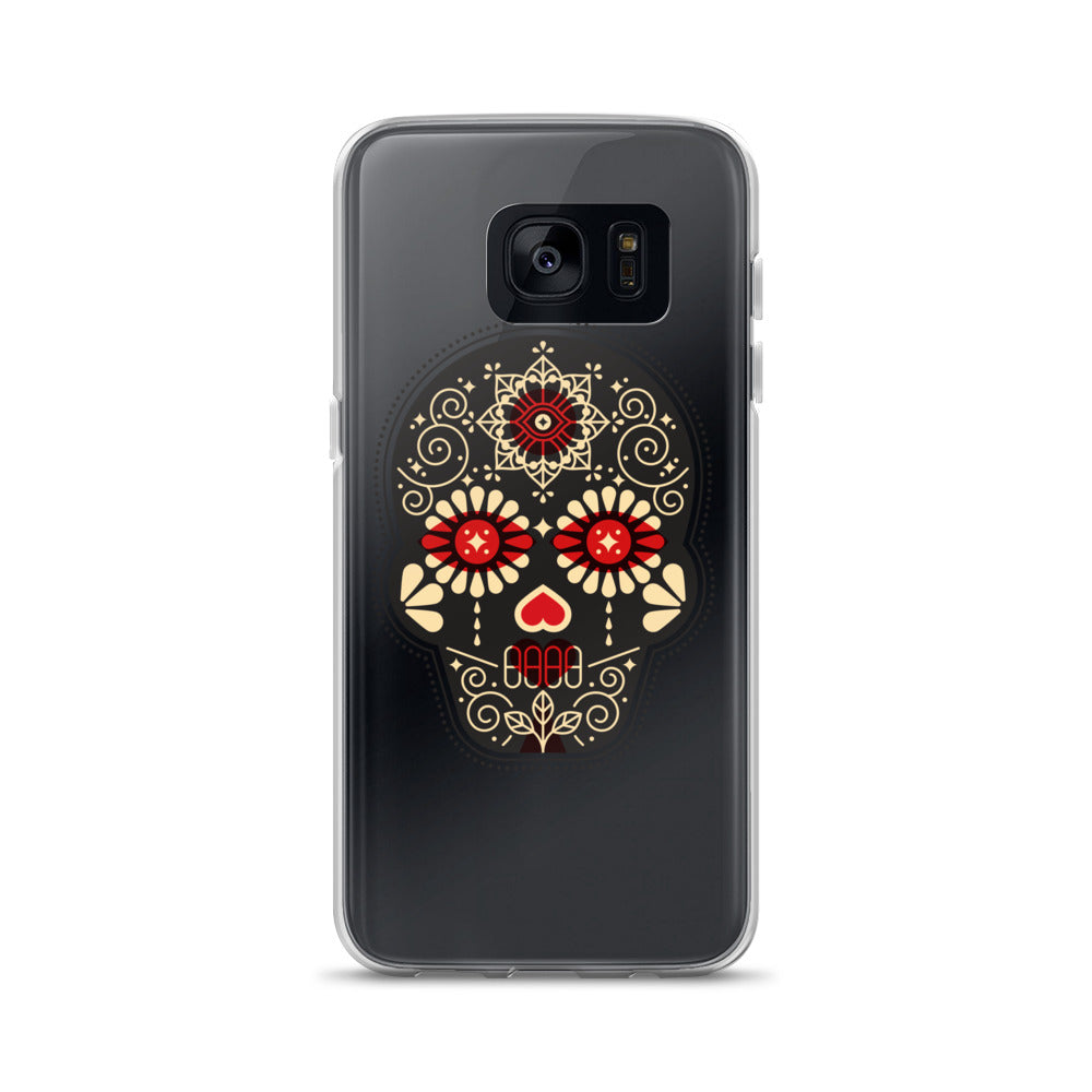 Día de Muertos – Mexican Sugar Skull – Black, Crimson & Cream Palette • Samsung Case (Transparent)