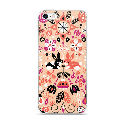 Bunny Lovers – Orange & Pink Palette  •  iPhone 5/5s/Se, 6/6s, 6/6s Plus Case