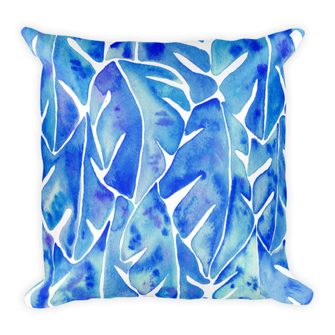Split Leaf Philodendron – Blue Palette • Square Pillow