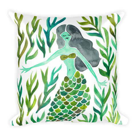 Kelp Forest Mermaid – Green Palette • Square Pillow