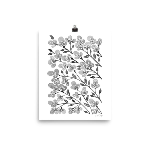 Cherry Blossoms – Grey Palette • Art Print