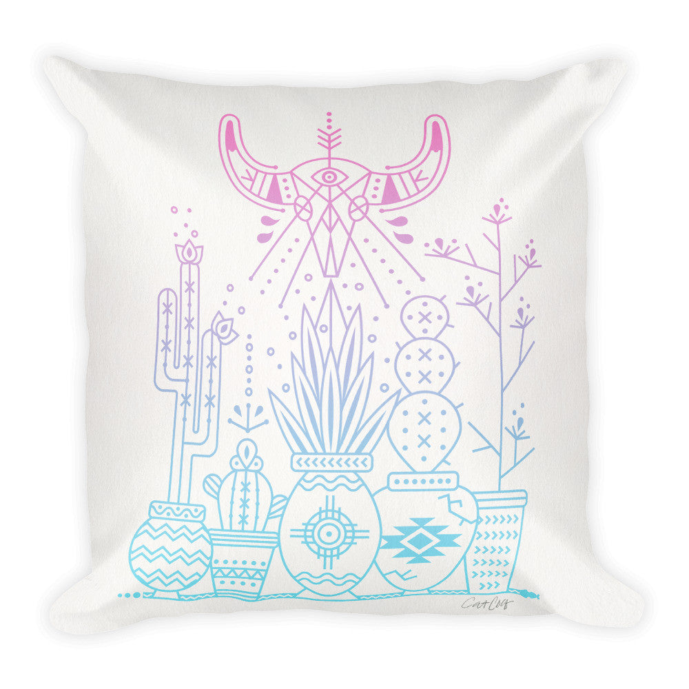 Santa Fe Garden – Serenity & Rose Quartz Palette  •  Square Pillow