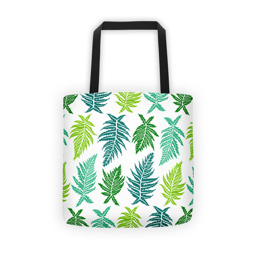 Inked Ferns – Green Ombré Ink • Tote Bag